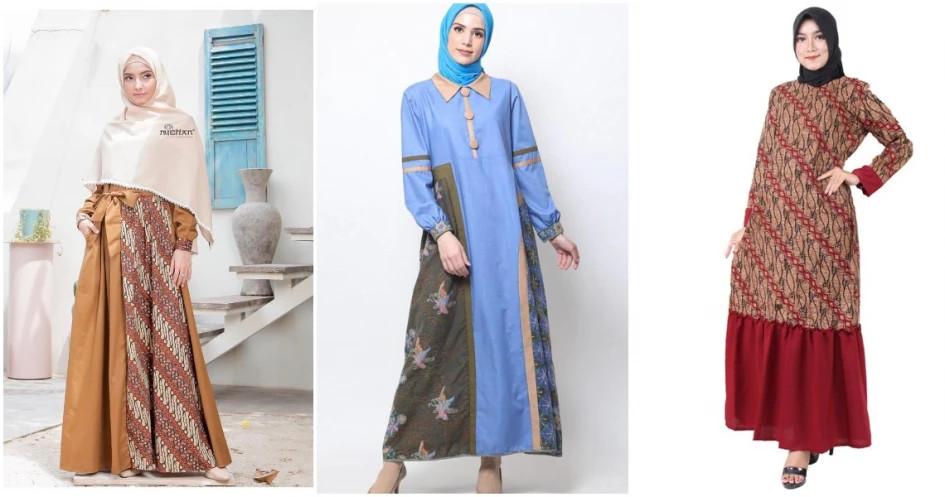 Sederet Inspirasi Model Gamis Batik Kombinasi Kain Polos Glitzmedia Co